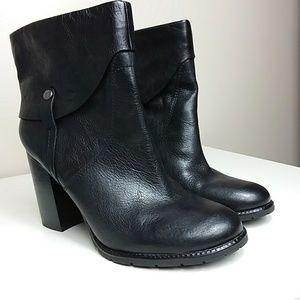 Franco Sarto Black Leather Booties Sz 12